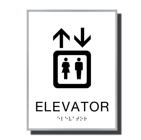 ADA Sterling Elevator Sign - NapADASigns - ADA Elevator Sign with Braille - Aluminum - Sterling Collection - napadasigns