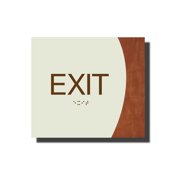 Custom ADA Braille Sign - ADA Timber Collection Exit Sign - Layered Plastic with Tactile Print - ADA Compliant - NapADAsigns
