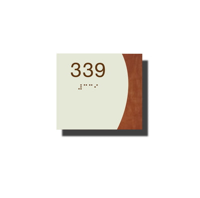 Custom ADA Room Number Sign with Braille - Plastic - Timber Collection