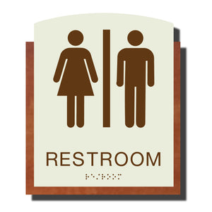 Custom ADA Braille Sign - ADA Timber Collection Restroom Sign - Layered Plastic with Tactile Print - ADA Compliant - NapADAsigns