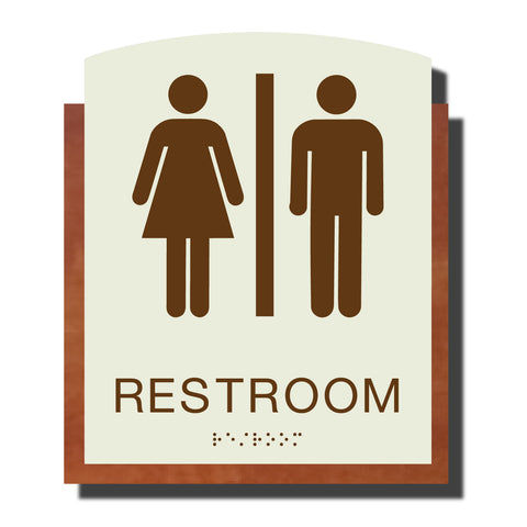 ADA Restroom Sign with Braille - Plastic - Timber Collection