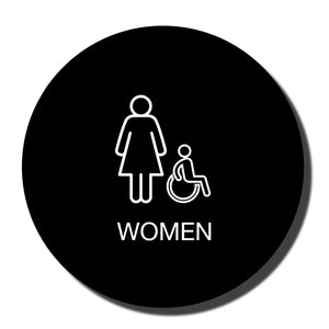 "California ADA Accessible Restroom Signs - ADA Compliant - Title 24 - 12"" - Black with White - napadasigns"