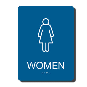 "ADA California Wall Sign for Women's Restroom , 1/4"" thick, 6"" x 8""  and fully ADA compliant"
