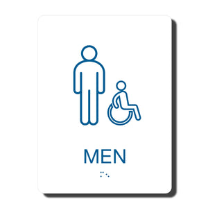 "ADA California Wall Sign for Men's Wheelchair Restroom , 1/4"" thick, 6"" x 8""  and fully ADA compliant"