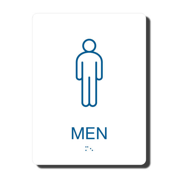 California ADA Mens Restroom Signs - ADA Compliant - Blue with White Wall Sign - 6