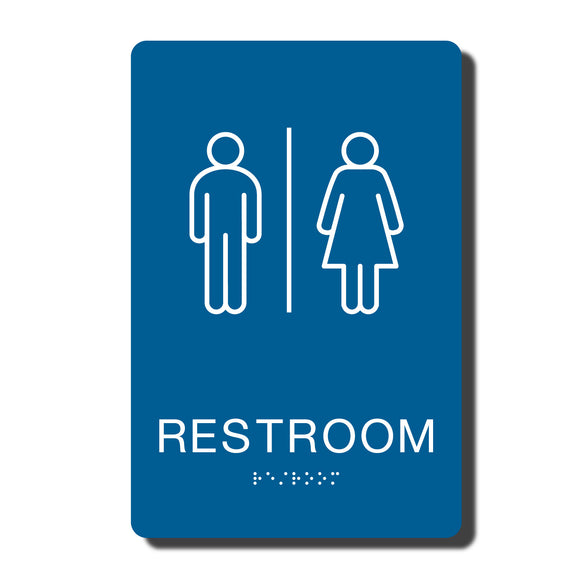 California ADA Restroom Signs - ADA Compliant - Blue with White Wall Sign - 6