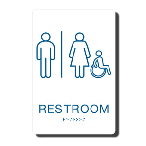 "California ADA Restroom Signs - ADA Compliant - White with Blue Handicapped Wall Sign - 6"" x 9"" - napadasigns"