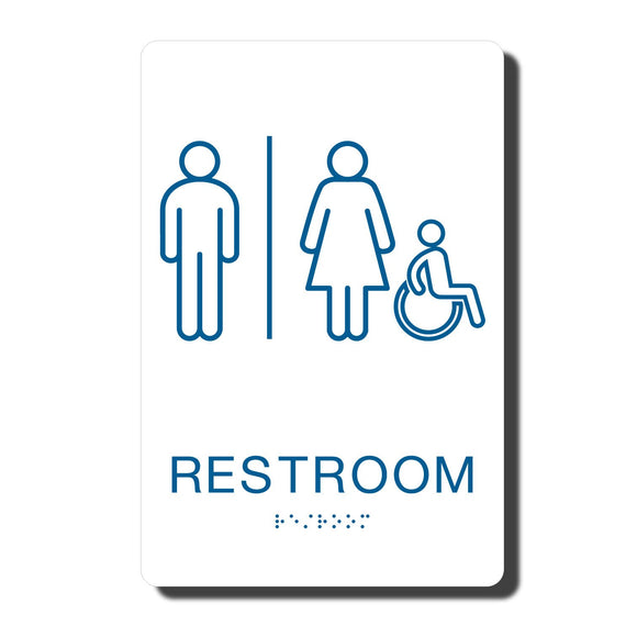 California ADA Restroom Signs - ADA Compliant - White with Blue Handicapped Wall Sign - 6