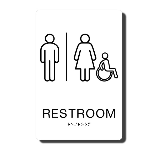 California ADA Restroom Signs - ADA Compliant - White with Black Handicapped Wall Sign - 6