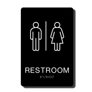 "California ADA Restroom Signs - ADA Compliant - Black with White Wall Sign - 6"" x 9"" - napadasigns"