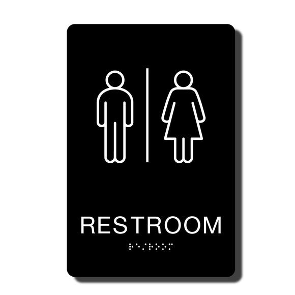 California ADA Restroom Signs - ADA Compliant - Black with White Wall Sign - 6