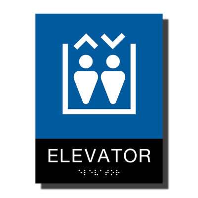 ADA Elevator Sign with Braille - Plastic - Chroma Collection