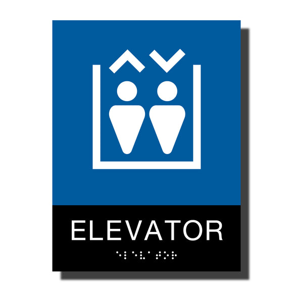 ADA Chroma Elevator Sign - NapADASigns - ADA Elevator Sign with Braille - Plastic - Chroma Collection - napadasigns