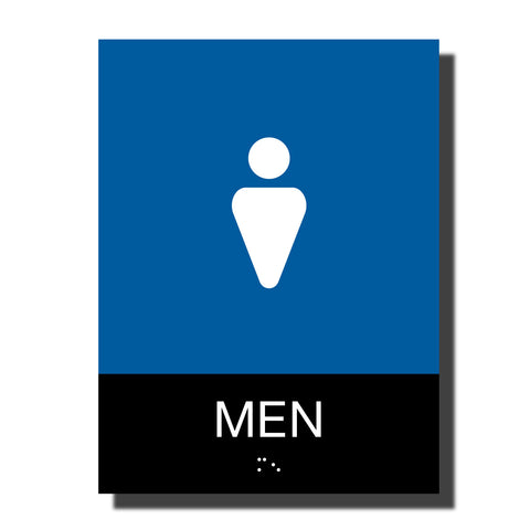 ADA Men Restroom Sign with Braille - Plastic - Chroma Collection