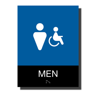 ADA Men Handicap Restroom Sign with Braille- Plastic - Chroma Collection