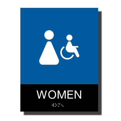 ADA Women Handicap Restroom Sign with Braille - Plastic - Chroma Collection