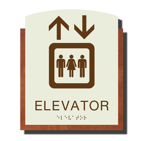 Custom ADA Braille Sign - ADA Timber Collection Elevator Sign - Layered Plastic with Tactile Print - ADA Compliant - NapADAsigns
