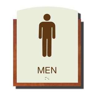 Custom ADA Braille Sign - ADA Timber Collection Men Restroom Sign - Layered Plastic with Tactile Print - ADA Compliant - NapADAsigns