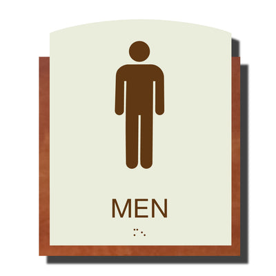 ADA Men Restroom Sign with Braille - Plastic - Timber Collection