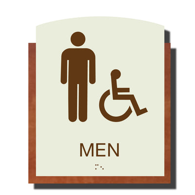 ADA Men Handicap Restroom Sign with Braille- Plastic - Timber Collection