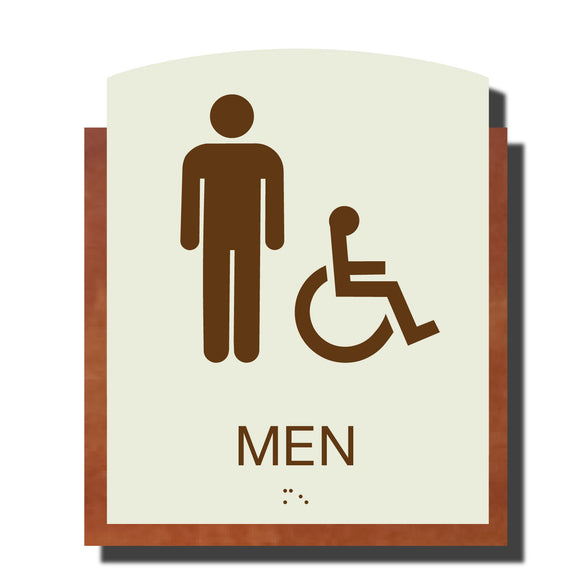 Custom ADA Braille Sign - ADA Timber Collection Men Accessible Restroom Sign - Layered Plastic with Tactile Print - ADA Compliant - NapADAsigns