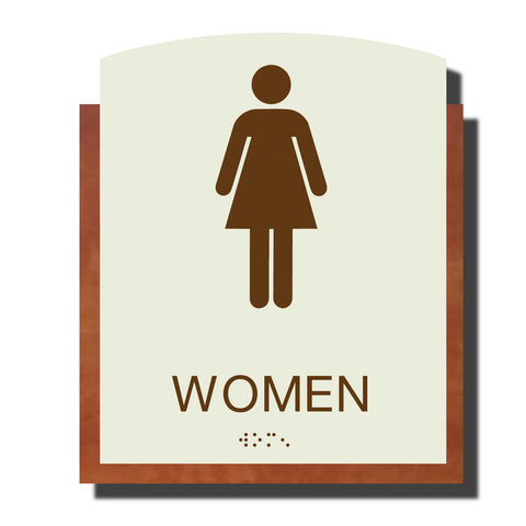 ADA Women Restroom Sign with Braille - Plastic - Timber Collection