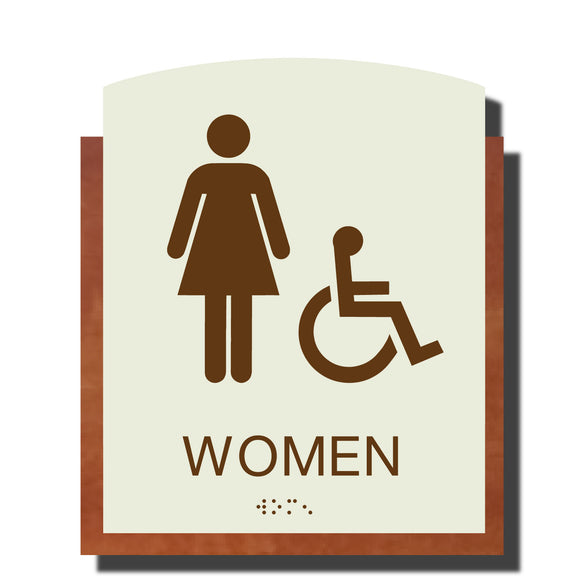 Custom ADA Braille Sign - ADA Timber Collection Women Accessible Restroom Sign - Layered Plastic with Tactile Print - ADA Compliant - NapADAsigns