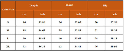 Legging Size Table