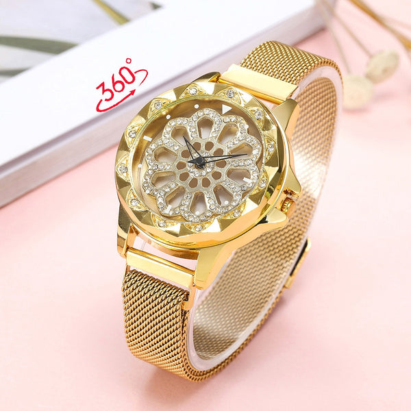 360 Degree Rotation Women Watch Mesh Magnet Starry Sky Cool Gifts