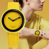 Leather Yellow Ladies Watch Women Watches Gifts