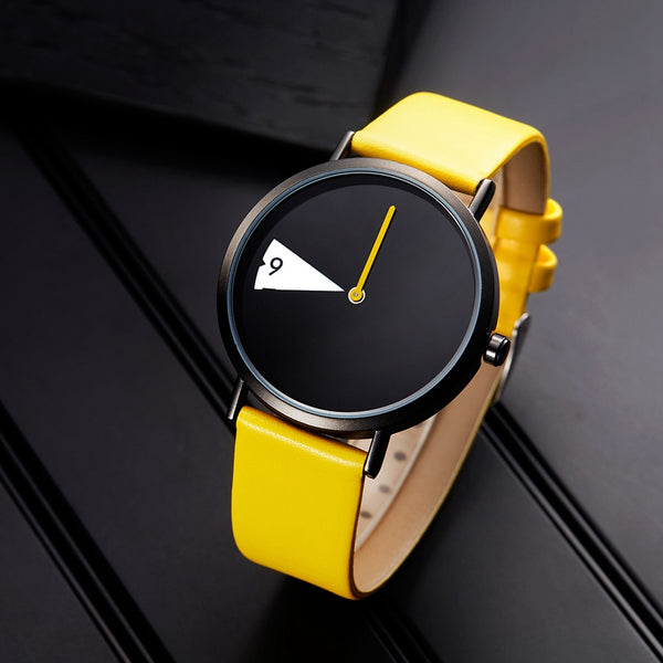 Creative Wristwatch Lady Clock Rotate Yellow Leather Band Wristwatches Gifts - Wholesale_Star_1