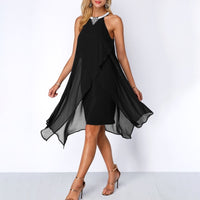 Plus Size Summer Chiffon Sleeveless Dress - Black