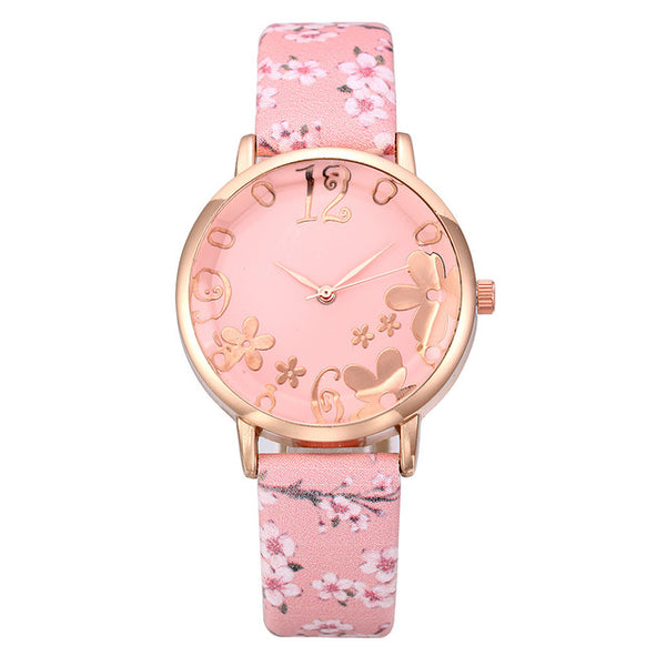 Girl Luxury Embossed Flowers Small Fresh Printed Belt Dial Watch Cool Gift