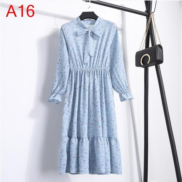 Korean Black Shirt Vestidos Office Polka Dot Vintage Autumn Dresses Women Winter Dress Midi Floral Long Sleeve Dress Female - Wholesale_Star_1