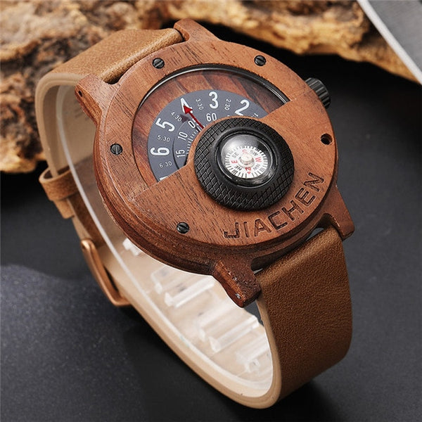 Creative Men Wood Watch True Real Solid Natural Turntable Compass Wristwatch Gifts