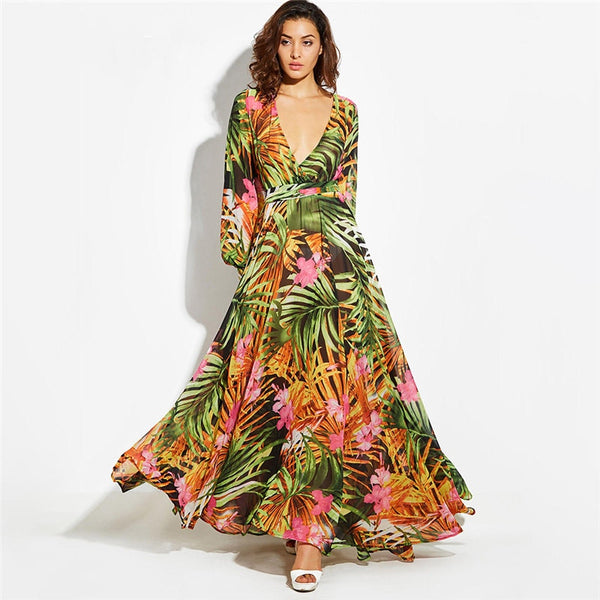 Tropical Beach Retro Long Dress Boho Casual V-neck Belt
