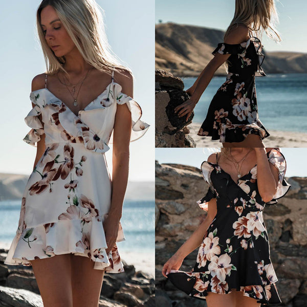 Summer Sexy Floral Dress Off Shoulder Boho Chiffon Party Beach Short Mini Dress - Wholesale_Star_1