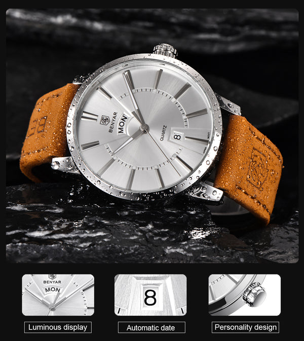 Letsatsi la Display la Analog Men's Quartz Men 30M Powerproof Genuine Leather Strap Casual Watch - Wholesale_Star_1
