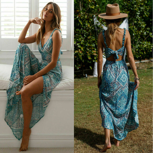 Women Boho Long Dress Sleeveless Backless Floral Chiffon Maxi Summer Beach Evening Party Dresses Sexy Sundress - Wholesale_Star_1
