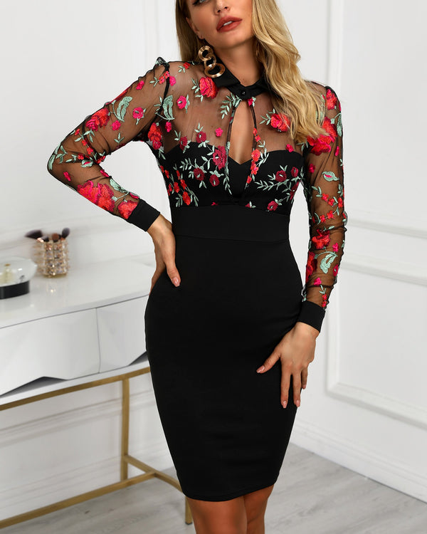 Sheer Mesh Floral Embroidery Bodycon Dress Women Sexy V-neck Sheath Summer Midi Dress Casual Workwear Elegant Party Night Dress - Wholesale_Star_1