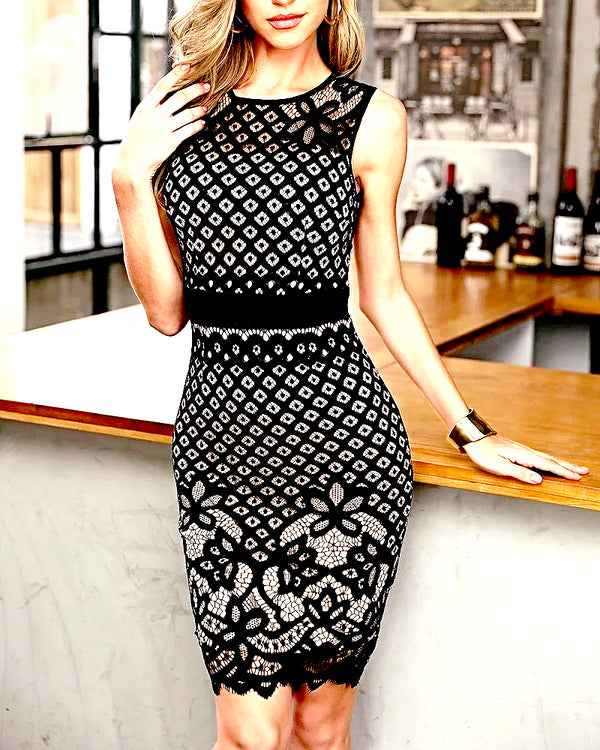 Black Hollow Out Lace Stitching Party Dress - Wholesale_Star_1