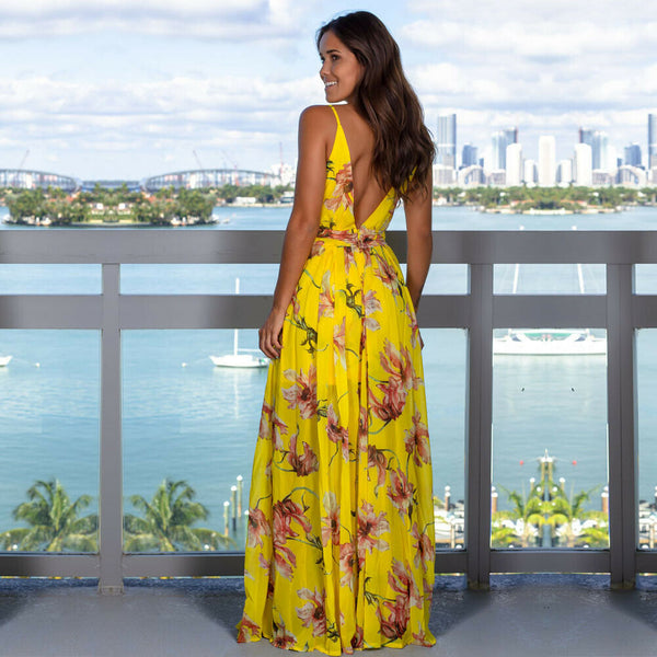 Women's Sling Floral Long Dresses arrival Summer Boho V-Neck Sleeveless Evening Party Beach Maxi Dress Casual Sundress - Wholesale_Star_1