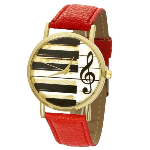 Yellow Piano Musical Notation Quartz Watches
