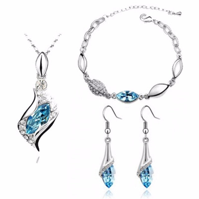 Silver plated Colorful Austrian Crystal Necklace Earrings Bracelet Jewelry Sets