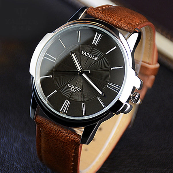 Top Brand Leather Luxury Blue Glass Watch Men Waterproof Gifts - Wholesale_Star_1