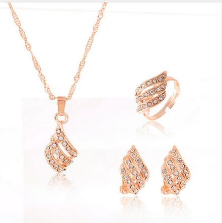 African Bridal Gold Color Necklace Earrings Ring Wedding Crystal Sieraden - Wholesale_Star_1