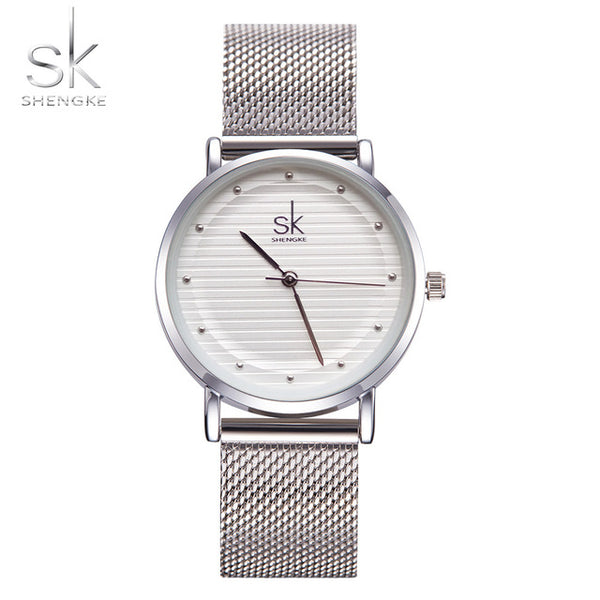 Texture Watches Luxury Sliver Ladies Rhinestone Waterproof