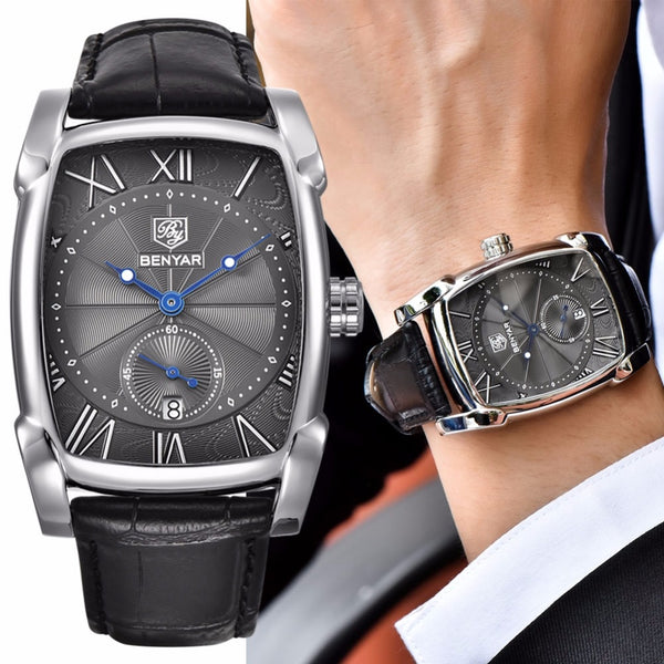 Benyar Men Business Waterproof Quartz Leather Wrist Watch