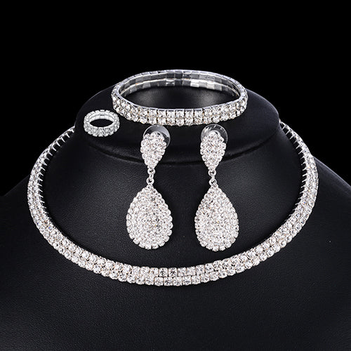 4 PCS Luxury Wedding Bridal Jewelry Sets for Brides Necklace Bracelet Ring Earring - Wholesale_Star_1