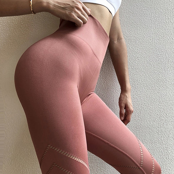 Unique Design Sexy Pink Yoga Pants Seamless High Waist Athletic Sport Pants